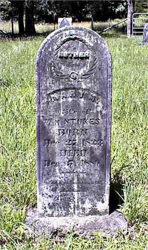 Headstone of Mary Matilda (Coxey) Stokes (1823-1886) in Porter Cemetery, Pulaski County, Missouri.